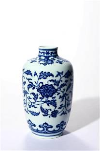 Blue And White Interlocking Lotus Vase