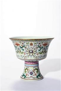 A Famille Rose Flower Stem Cup