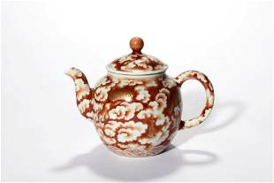 An Iron Red Glaze Dragon Tea Pot