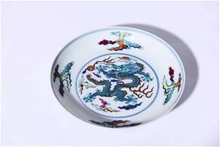 A Wucai Dragon Dish