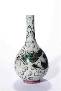 A Grisaille Rose Dragon Bottle Vase