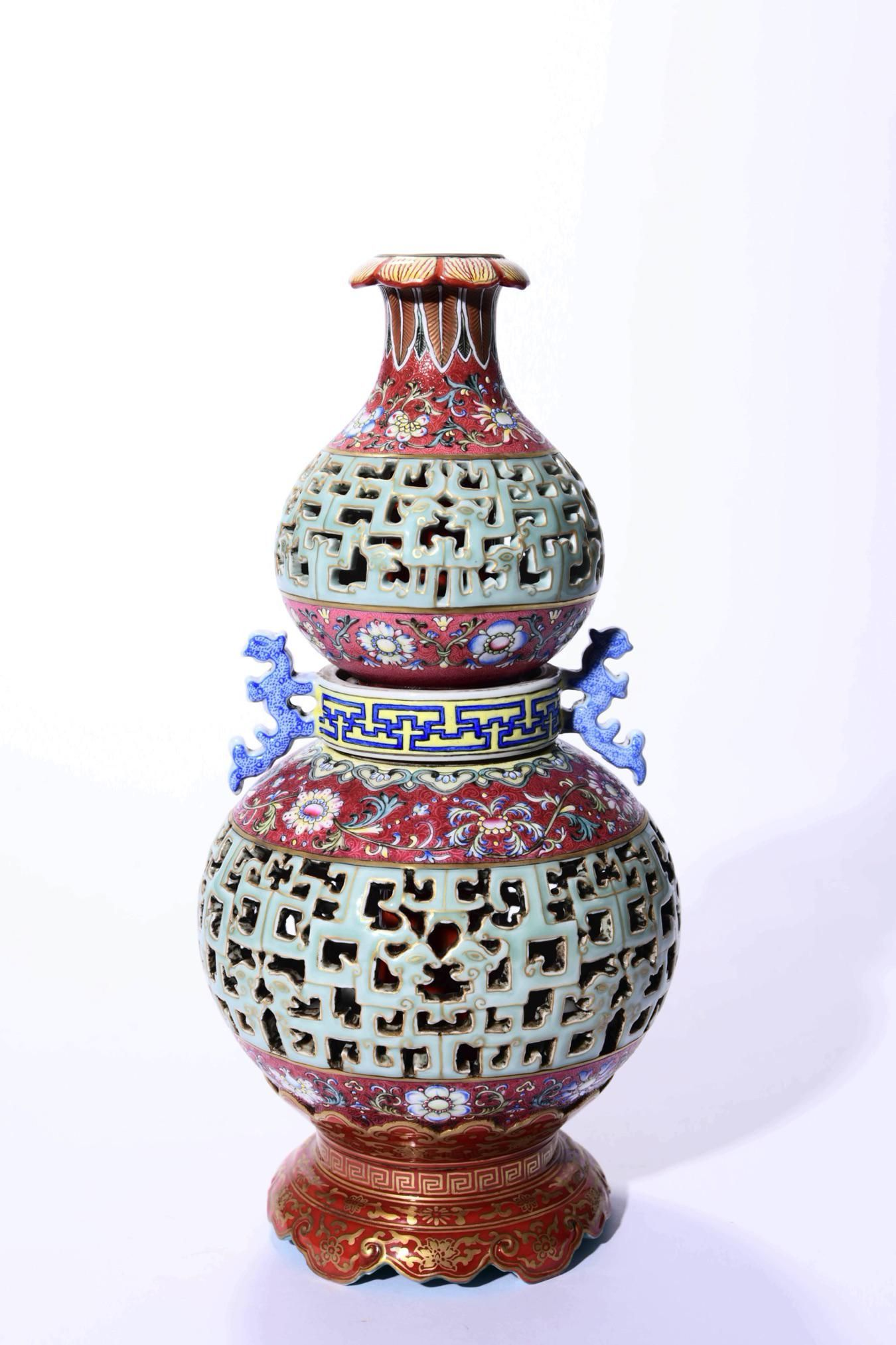A Famille Rose Openwork Double Gourd Shaped Vase