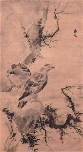 A Chinese Eagles Painting, Lv Ji Mark