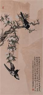 A Chinese Magpie And Flowers Painting