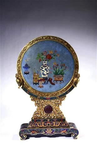 A Cloisonne Enamel Flowers Round Table Screen