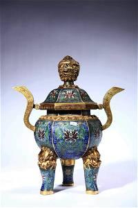 A Cloisonne Enamel Interlocking Lotus Tripod Incense