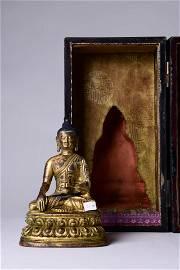 A Gilt Bronze Statue Of Shakyamuni