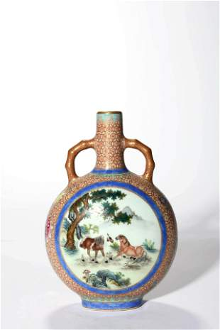 A Famille Rose And Gilt Decorated Horse Moon Flask