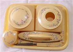 VINTAGE CELLULOID VANITY SET  8 PIECES