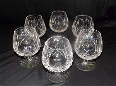 6 WATERFORD CRYSTAL BRANDY SNIFTERS