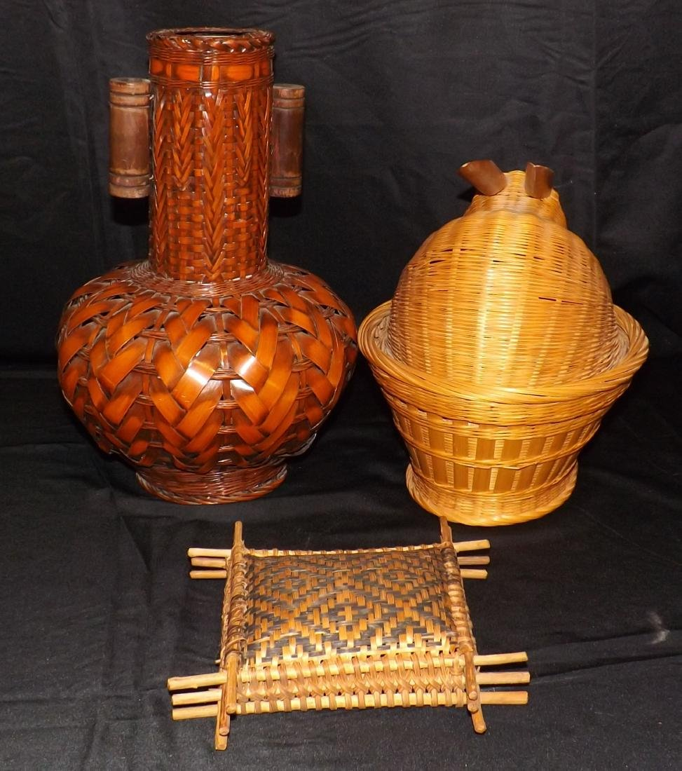 HAND WOVEN ASIAN & NATIVE AMERICAN STYLE BASKETS & - 3