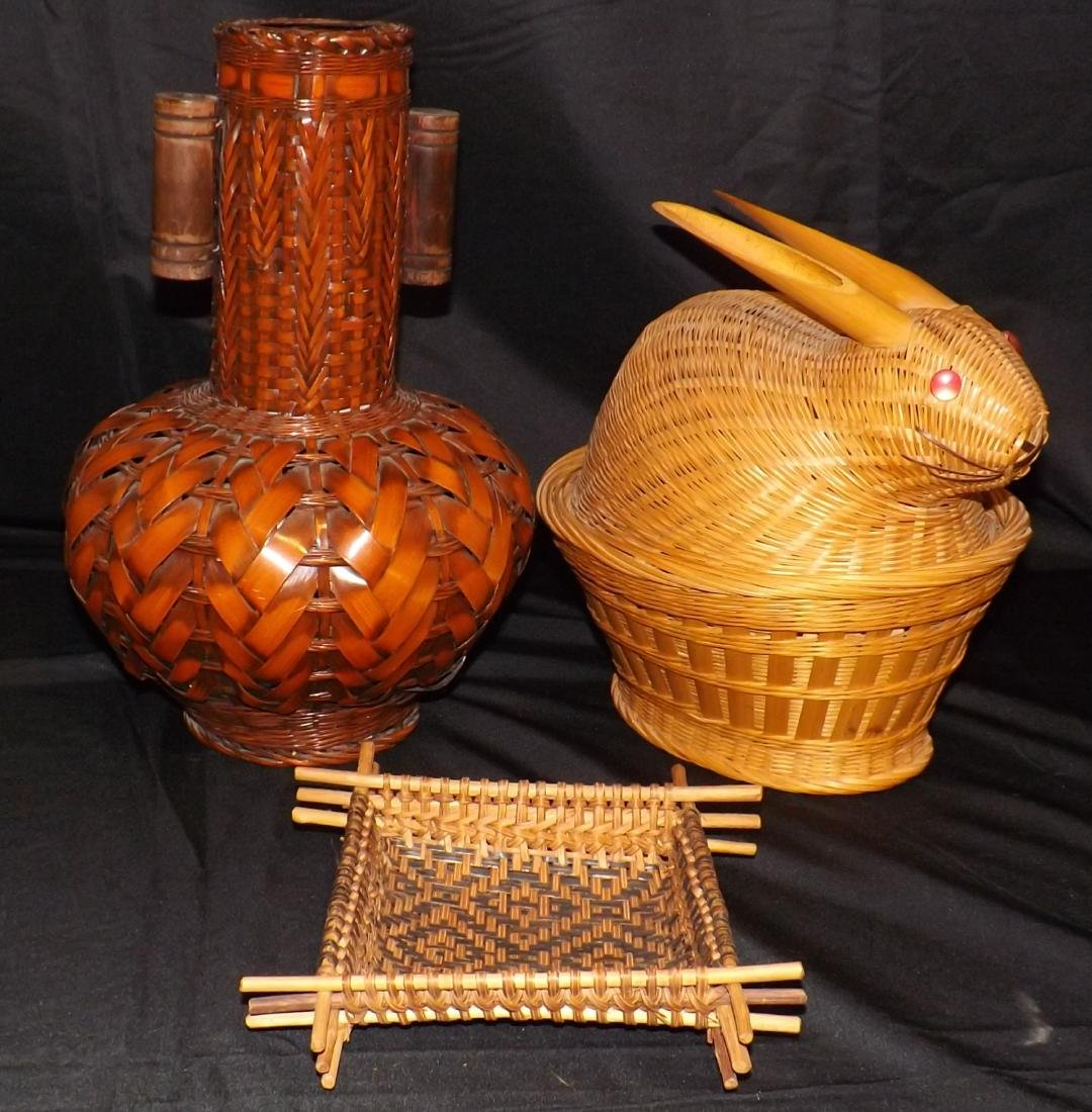 HAND WOVEN ASIAN & NATIVE AMERICAN STYLE BASKETS & - 4