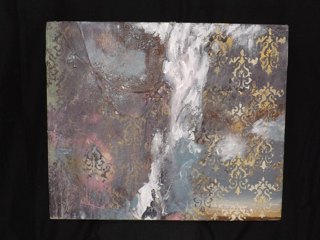 ORIGINAL MIXED MEDIA OBSTRACT LANDSCAPE