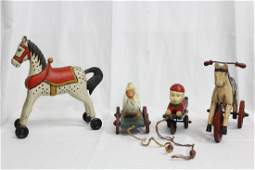 4 WOODEN REPLICA PULL TOYS