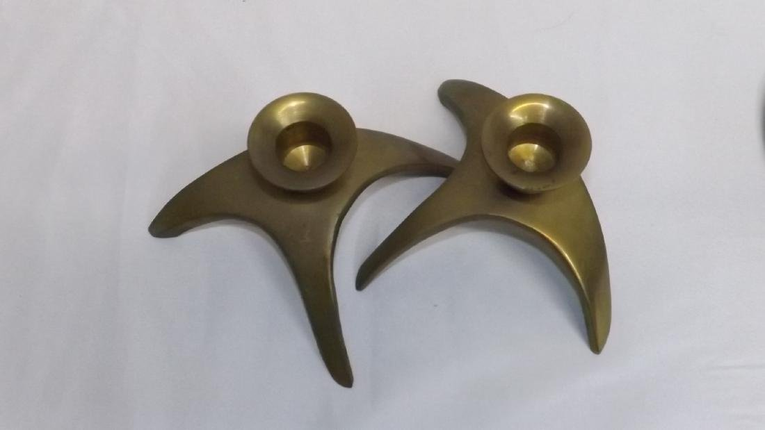 BRASS CANDLE STICK HOLDERS - HORNS - 8
