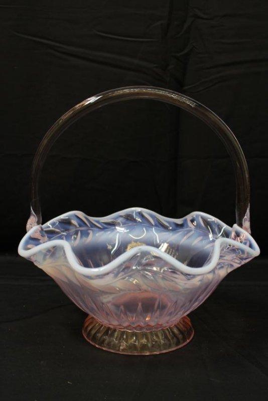 TIARA GLASS PINK & OPALESCENT BASKET - 2