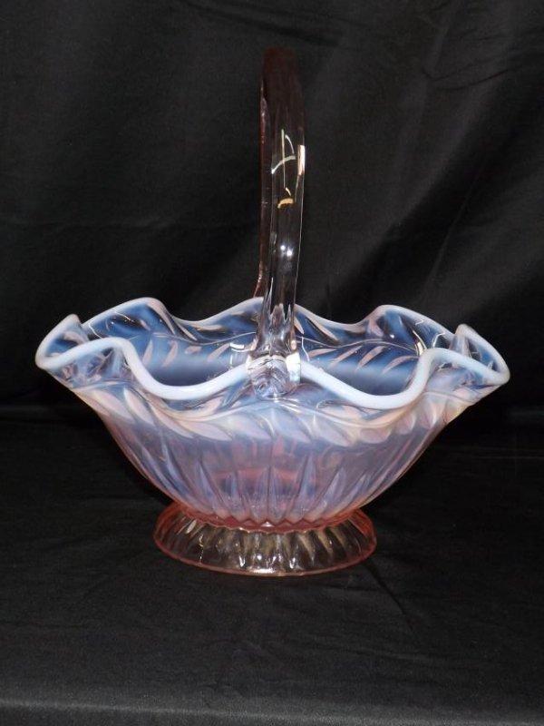 TIARA GLASS PINK & OPALESCENT BASKET - 6