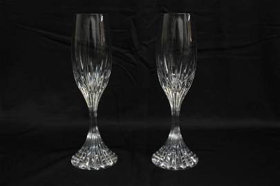 PAIR OF BACCARAT CRYSTAL CHAMPAGNE FLUTES