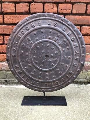 19th Century Brooklyn NY Manhole Cover on Custom Stand