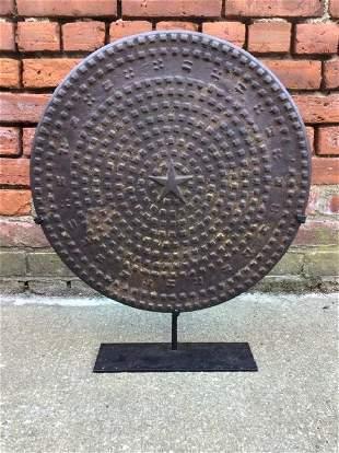 19th Century Manhole Cover on Custom Stand