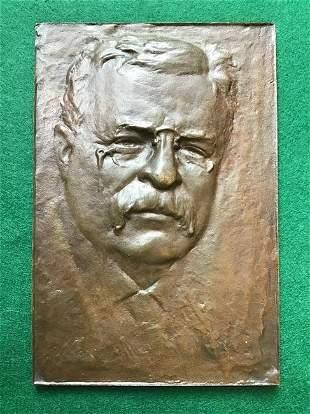 Antique Bronze Relief Plaque of Teddy Roosevelt