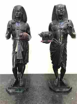Bronzes of Egyptian Priest and Scribe Emile Picault