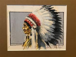 Original painting by Howard Connolly of Native American