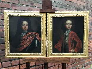 Pair Early 18th Cent. English Paintings of The Stuarts