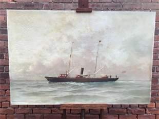 Steam Yacht Painting C. Myron Clark New York Yacht Club