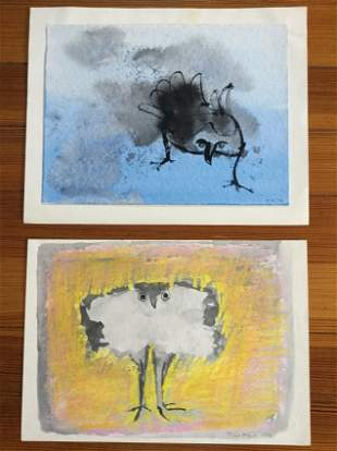 2 Original Watercolors of an Owl by Juliet Kepes 1976