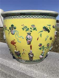 Important Antique 19th C. Chinese Embossed Fish Bowl