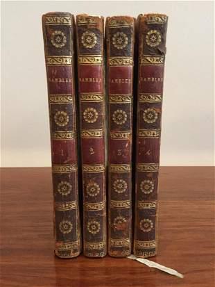 Antique Set of 4 Books Rambler by Samuel Johnson 1798