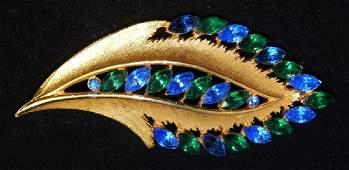 Vintage Gold Leaf Brooch with Blue Stones