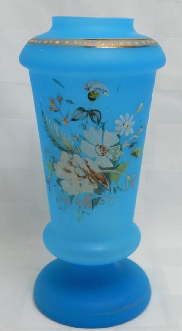 Hand Painted Enamel Blue Glass Vase