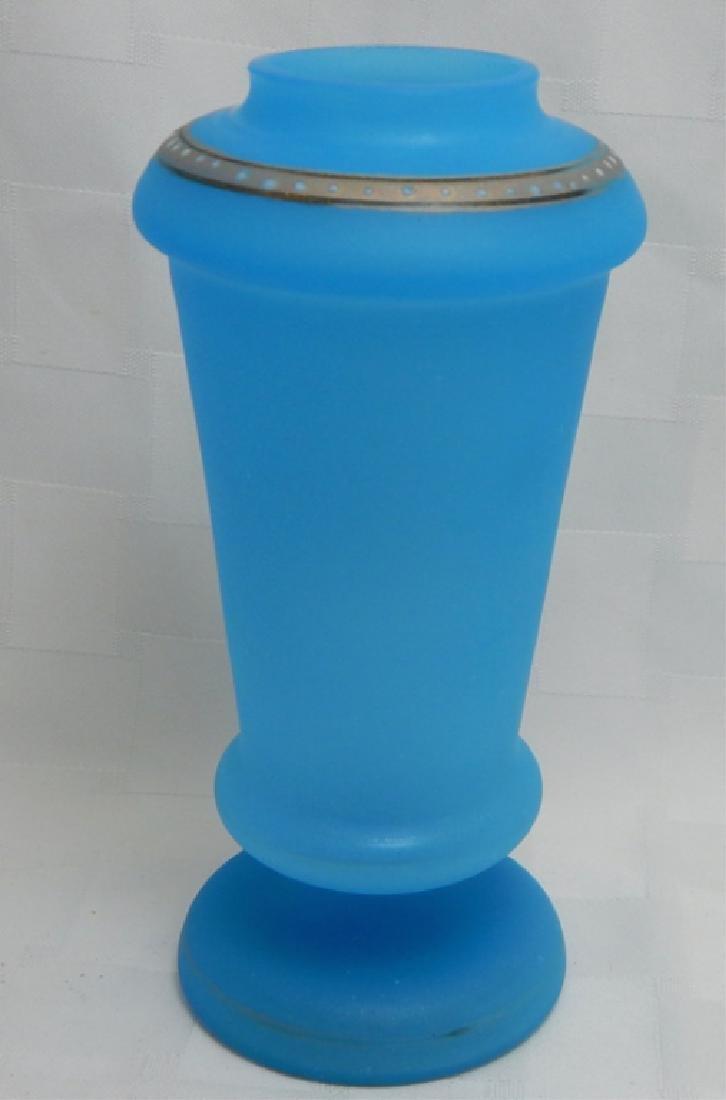 Hand Painted Enamel Blue Glass Vase - 2