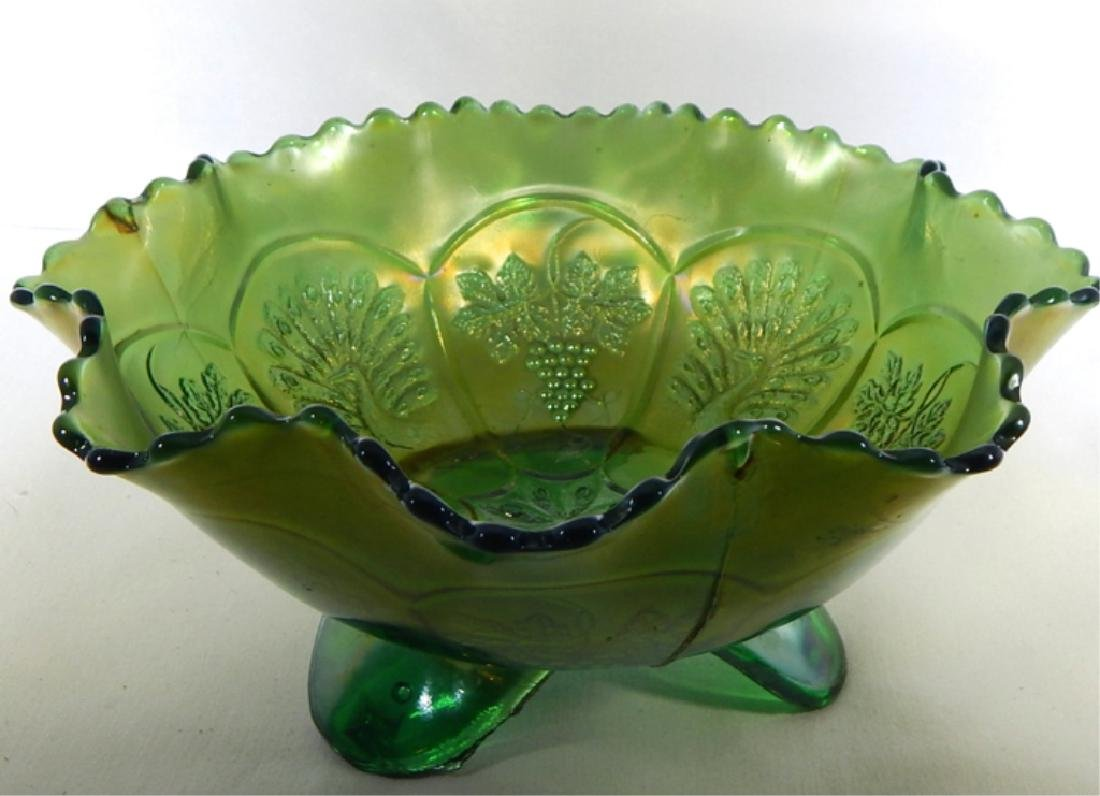 Vintage Peacock & Grapes Carnival Glass Footed Bow