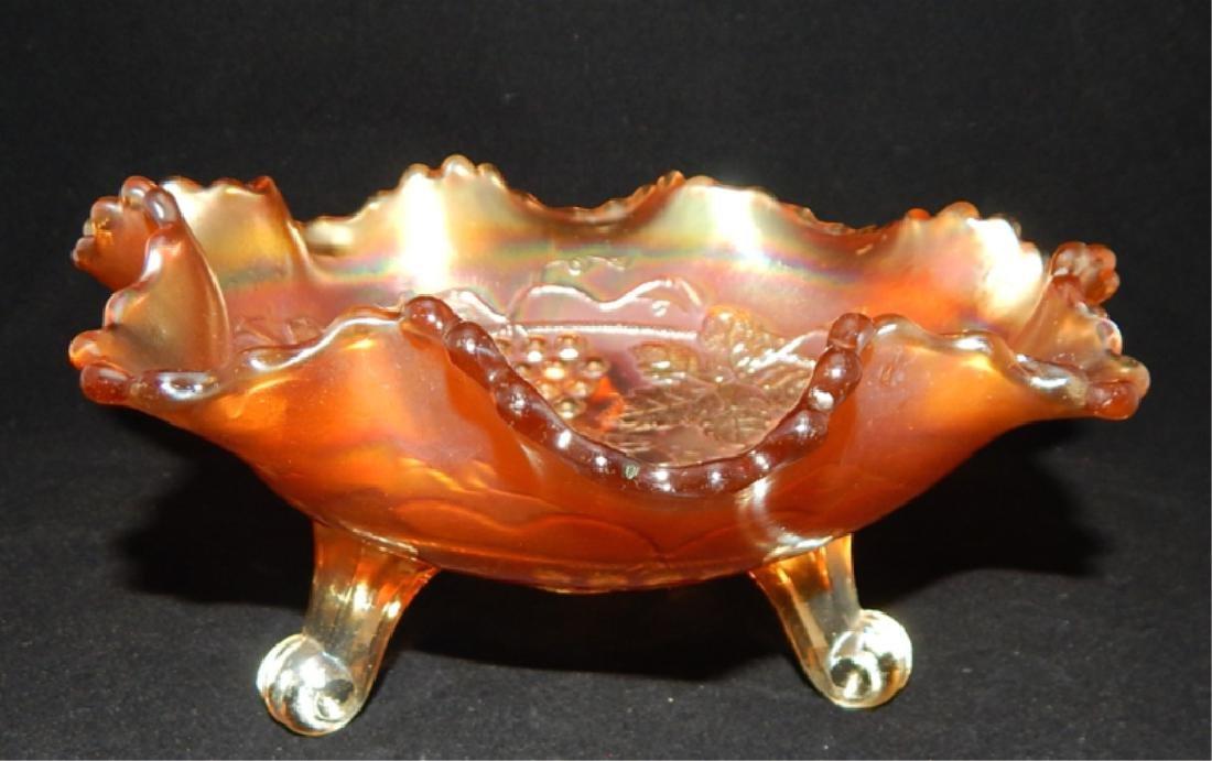 Vintage Marigold Carnival Glass Footed Bowl