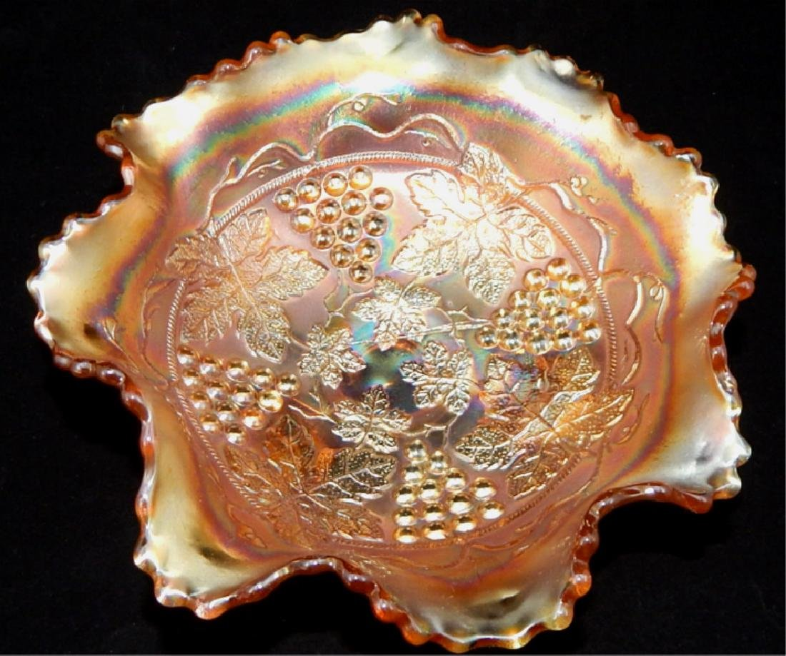 Vintage Marigold Carnival Glass Footed Bowl - 2