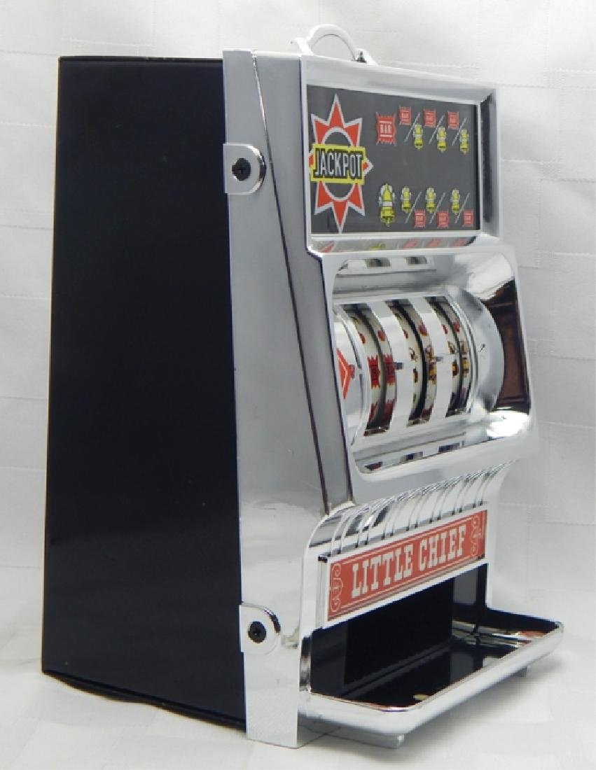 Vintage Little Chief Bank Slot Machine in Box - 4