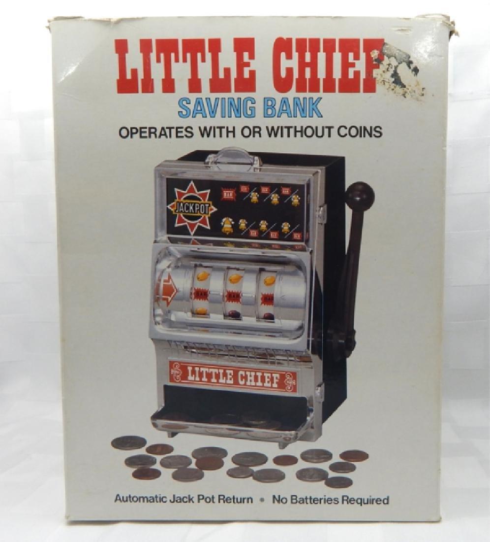 Vintage Little Chief Bank Slot Machine in Box - 8