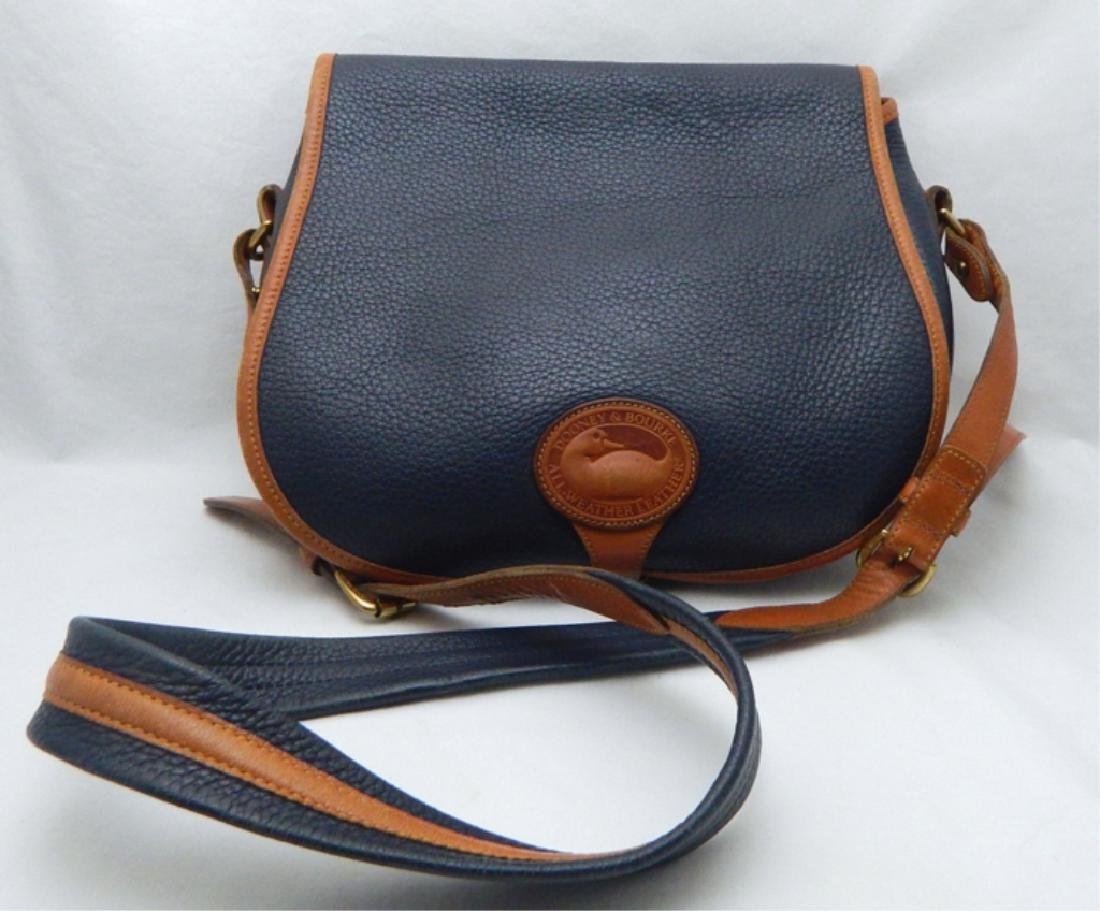 Dooney & Burke Navy and Tan Leather Handbag