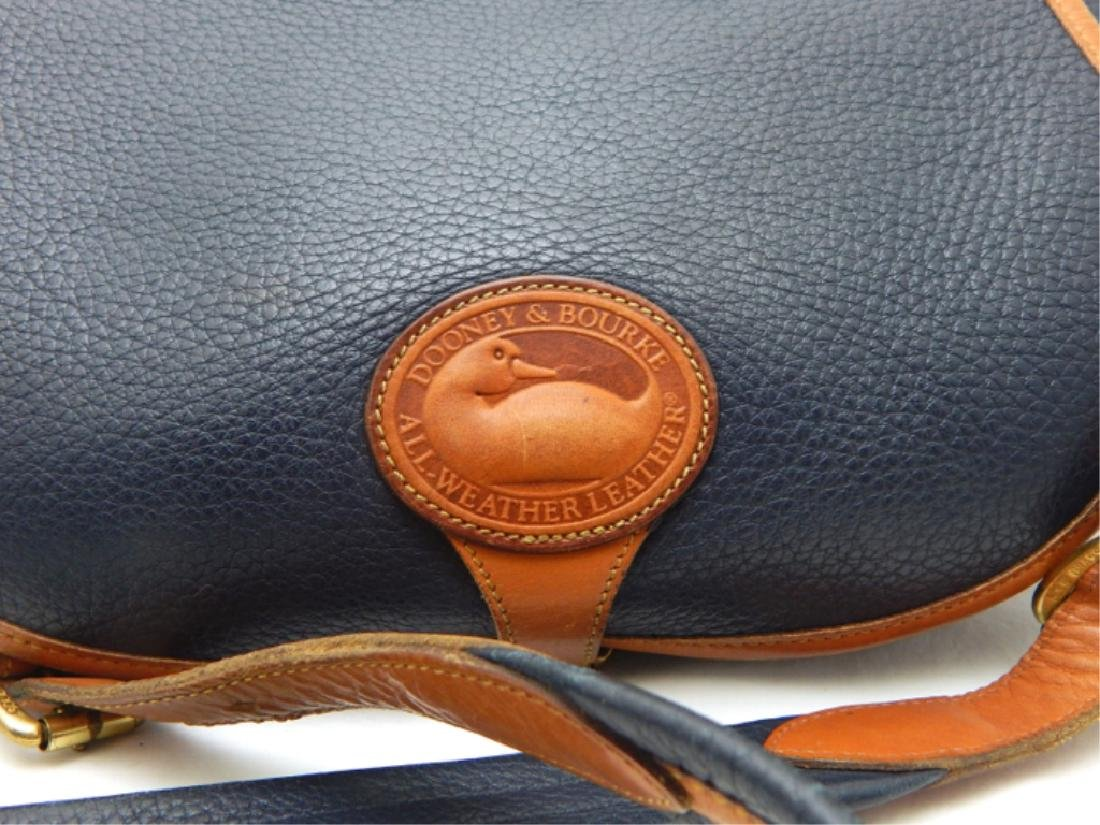 Dooney & Burke Navy and Tan Leather Handbag - 2