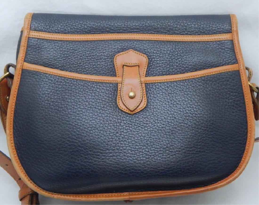 Dooney & Burke Navy and Tan Leather Handbag - 3