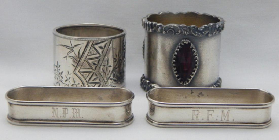 4 Victorian Sterling & Silver Plate Napkin Rings