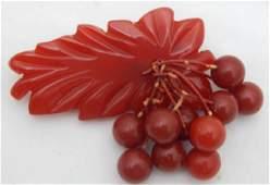 Vintage Hawaiian Bakelite Leaf w Berries Brooch