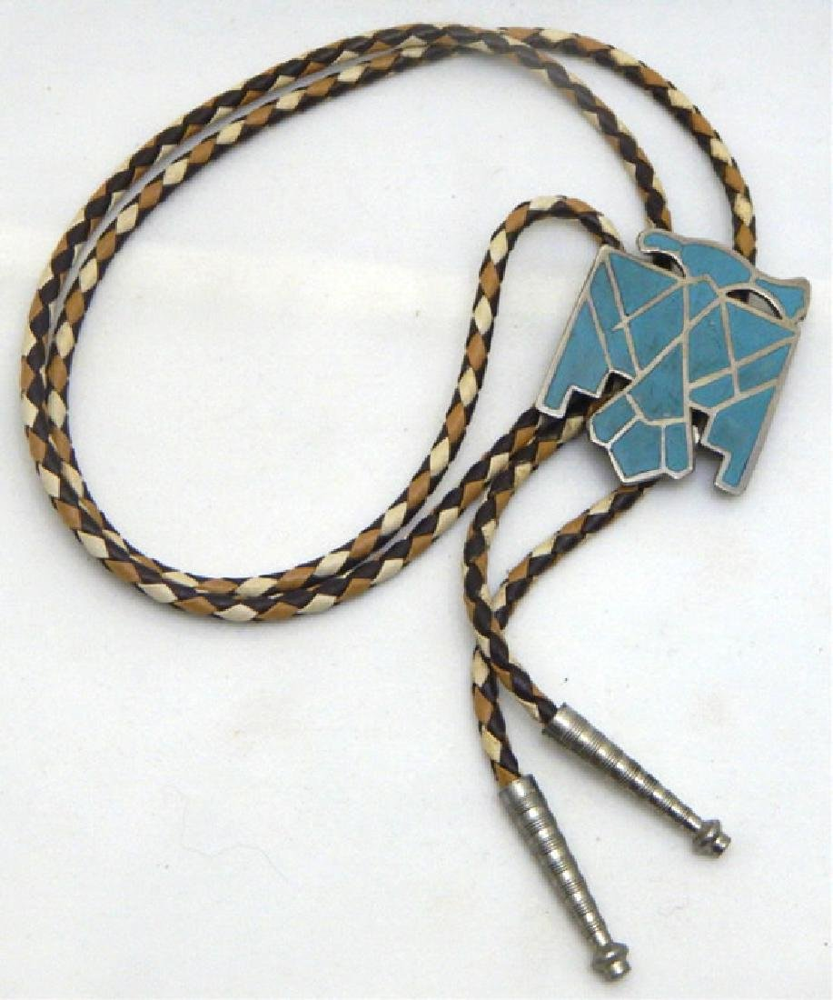 Old Pawn Sterling and Turquoise Eagle Bolo Tie
