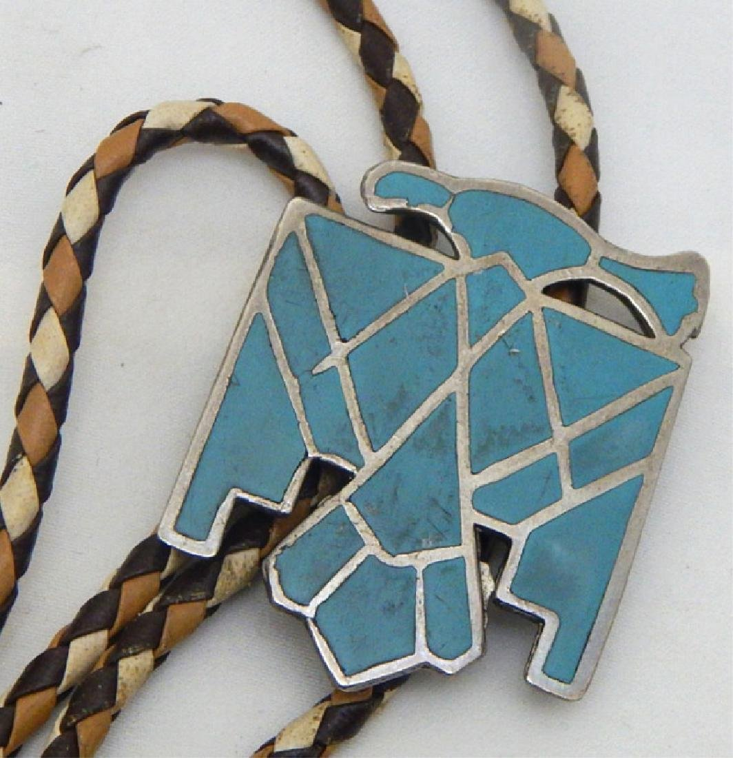Old Pawn Sterling and Turquoise Eagle Bolo Tie - 2