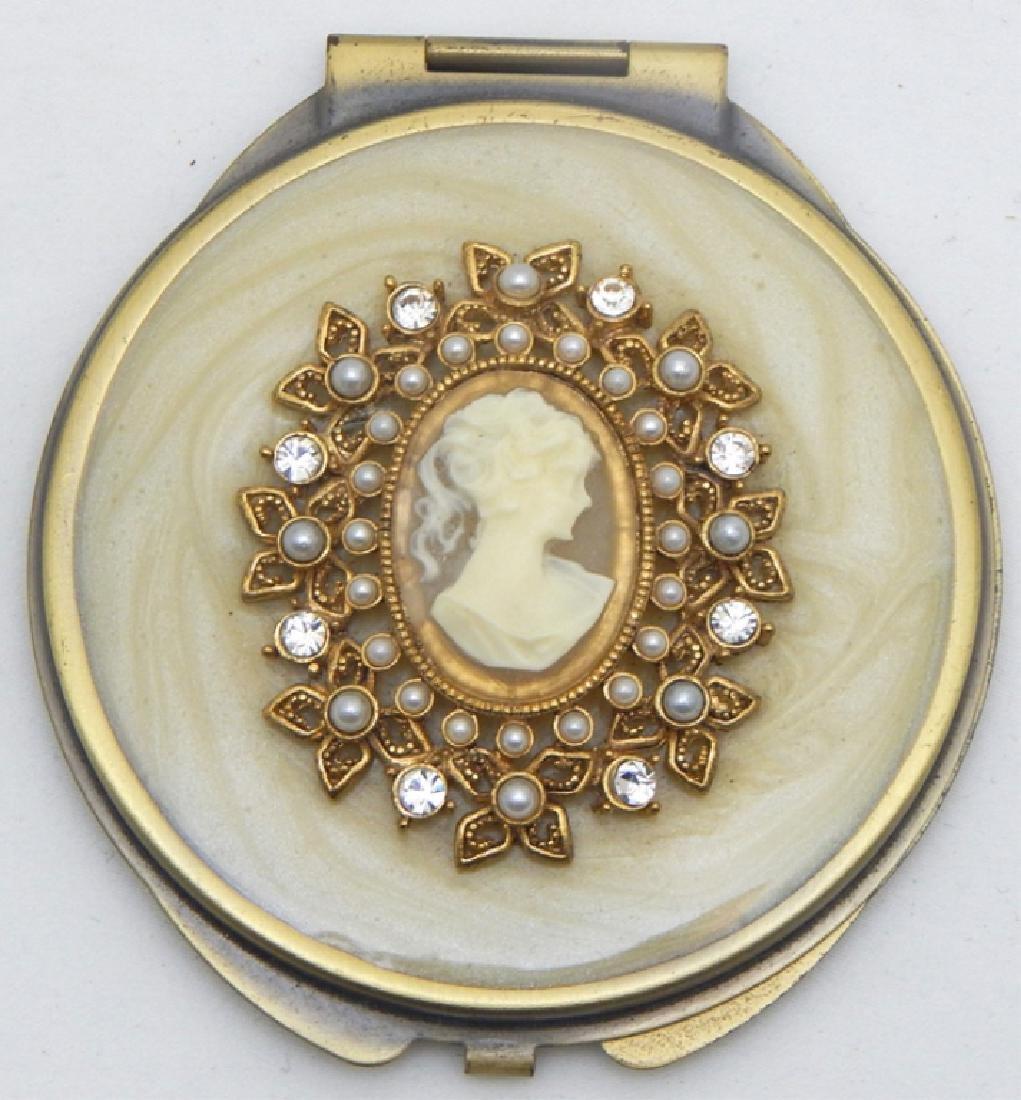 Jeweled Enamel Cameo Mirror Compact