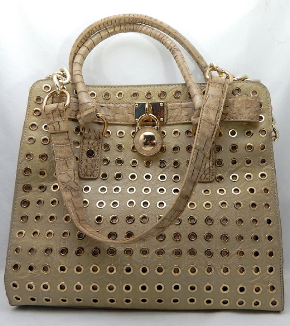 Tan Leather with Gold Lock and Accents Handbag