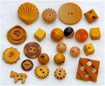 Hawaiian Carved Bakelite Button Collection, c1920s